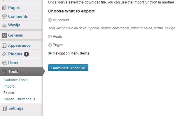export import wordpress menu
