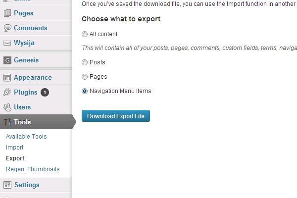 export import wordpress menu